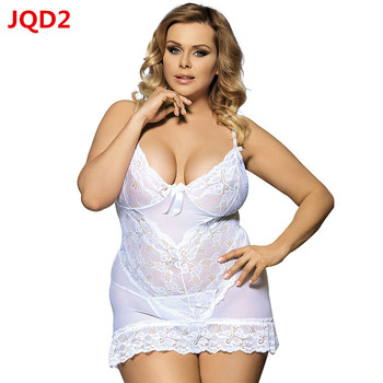 2018 New M-6XL Plus Size Women Sexy Lingerie Nightdress Lace Temptation Transparent Taste Pajamas + G-string  JQ70218