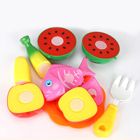 12 Pieces Kids 3D Fruit Kitchen Toys Play Toys Plastic Cutting Fruit Vegetable Pretend Play ChildrenToy Set Pretend Play P15