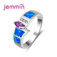 Jemmin Trendy Female Blue Opal Ring Jewelry Fashion Wedding Rings For Women 2017 New Gifts Bague Femme