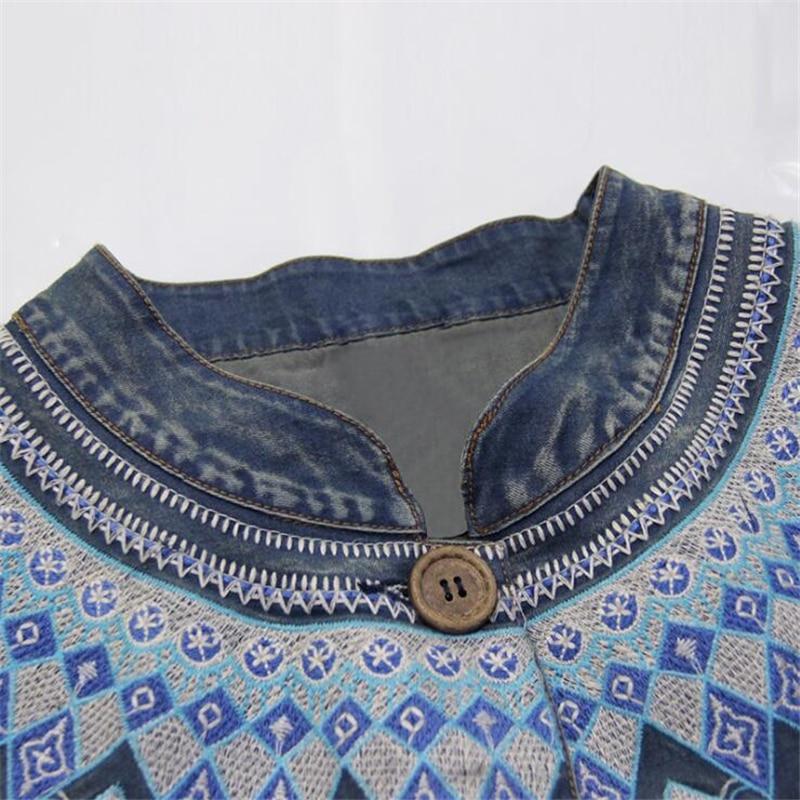 Mince Coton Manteau Nouvelles Veste Vêtements Haute Hiver Vent Denim Automne Qualité Broderie Casual Survêtement De National Femmes Court O7SzT
