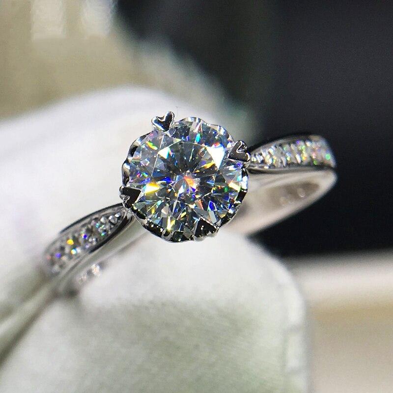 Pure 14K White Gold 1ct 2ct 3ct Moissanite Ring VVS1 Round Brilliant Cut Diamond Heart Shaped Ring Wedding Anniversary Ring