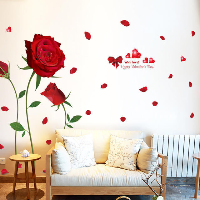 Romantic red rose stickers beautiful flowers wall stickers bedroom living room background decoration wall stickers