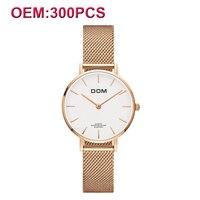 DOM Customiz свой собственный бренд Для женщин наручные часы Мода Роскошные часы Водонепроницаемый Сталь браслет кварцевые женские часы Горячая