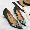 Элегантные дамы Стразами Бисером туфли на шпильках острым носом насосов высоких пяток свадебные вечерние туфли zapatos mujer tacon медио