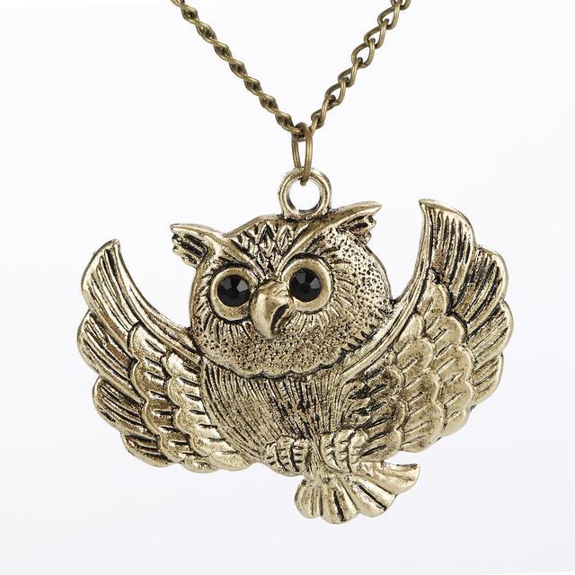New Vintage Charm Women Girls Ladies Fashion Bronze Owl Long Chain Statement Necklace Pendant Jewelry