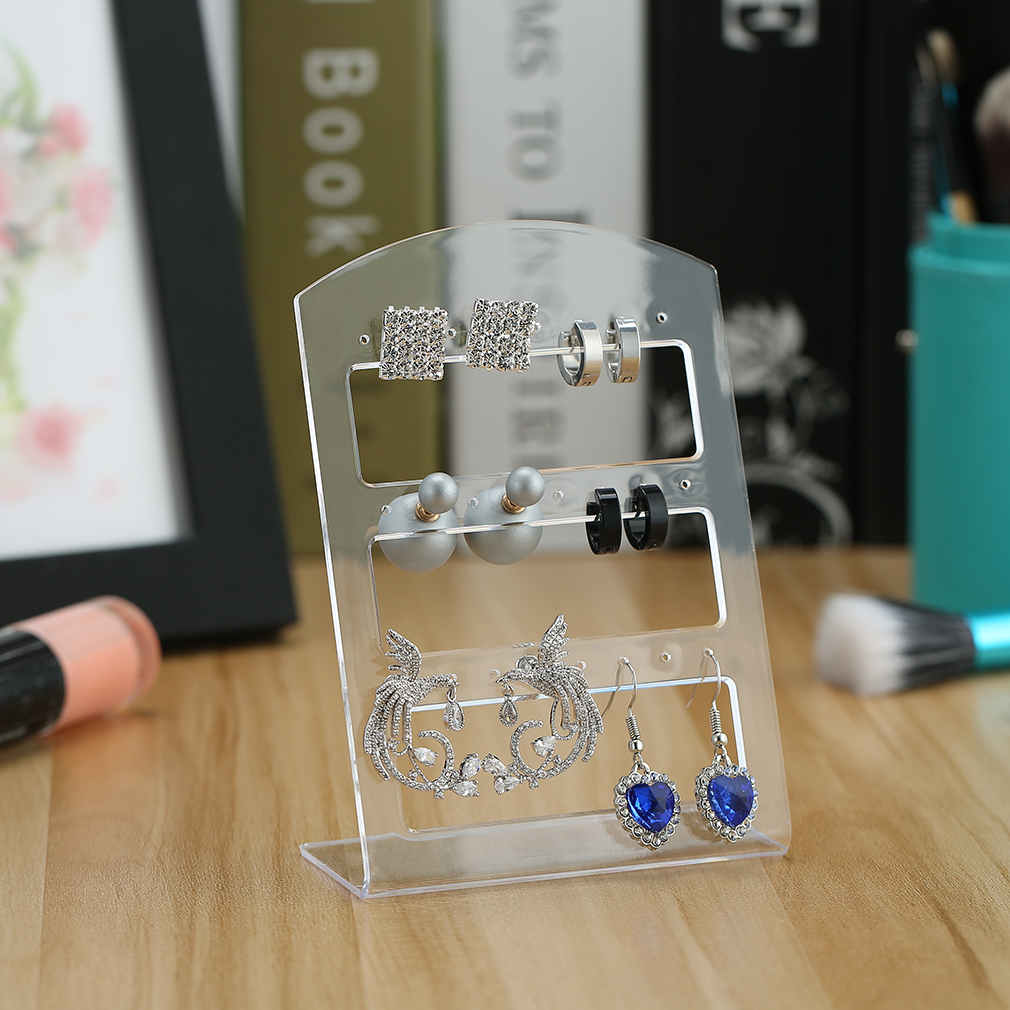 24 Holes Plastic Earring Show Display Rack Stand Organizer Holder Stand Fashion Jewelry Display Rack Desktop Storage Rack