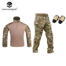 Emersongear g3 savaş üniforma gömlek emerson pantolon diz pedleri ile airsoft taktik emerson askeri kamuflaj mult-icam mc renk