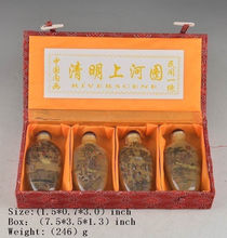 China s four snuff bottle glass painting old collection river scene Built in painting decoration gift