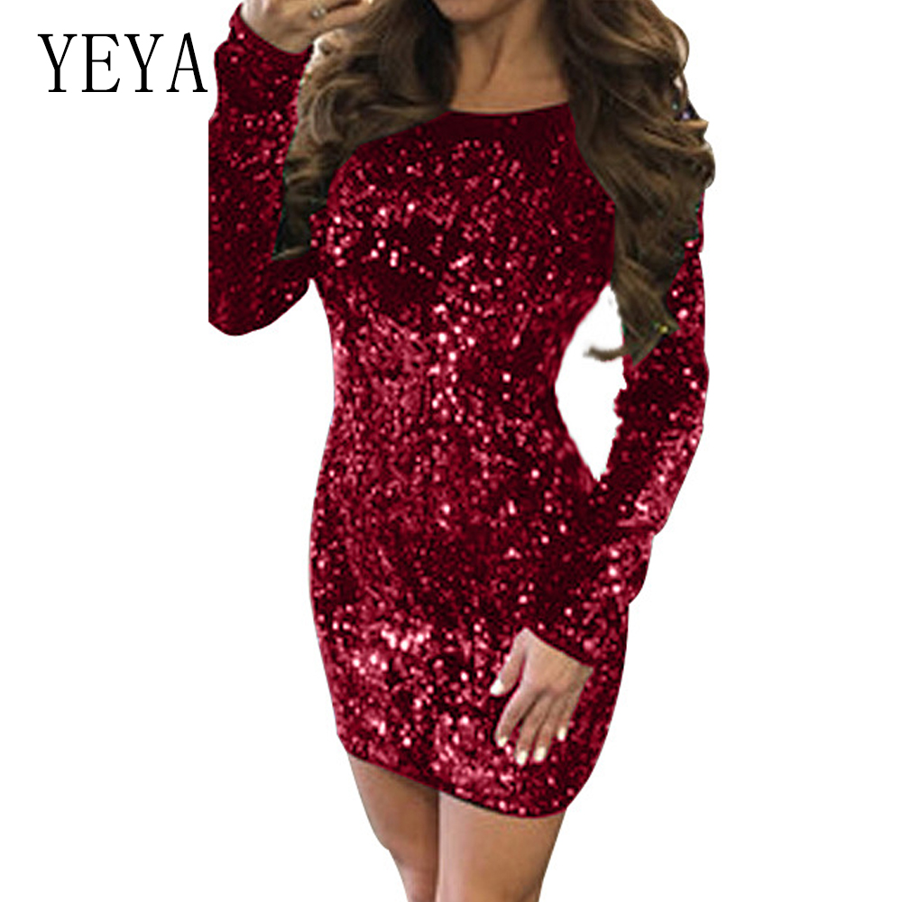 50% price cheaper fashion YEYA Sexy Backless Gold Sequin Dress Women Spring Long Sleeve ...