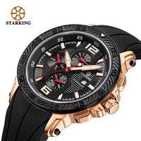 STARKING Men Sports Watch Multifunctional Waterproof Silica Gel Large Dial Watch Stainless Steel Quartz Watch BM0872