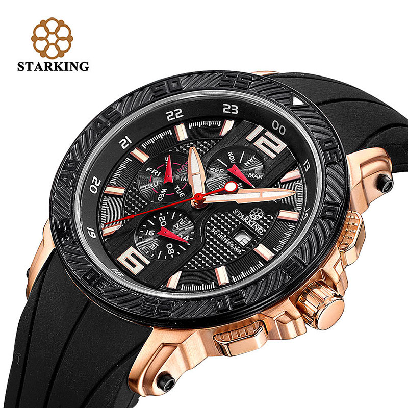 STARKING Men Wristwatch Relogio Masculino Multi-Functional Original Hot Sports Watch Silicone Luxury Brand Black Quartz Watch free drop shipping 2017 newest europe hot sales fashion brand gt watch high quality men women gifts silicone sports wristwatch