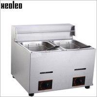 Xeoleo Commercial Gas Fryer Double Tanks Fryer 6L 2 Gas French Fries Machine Fry Machine Frying
