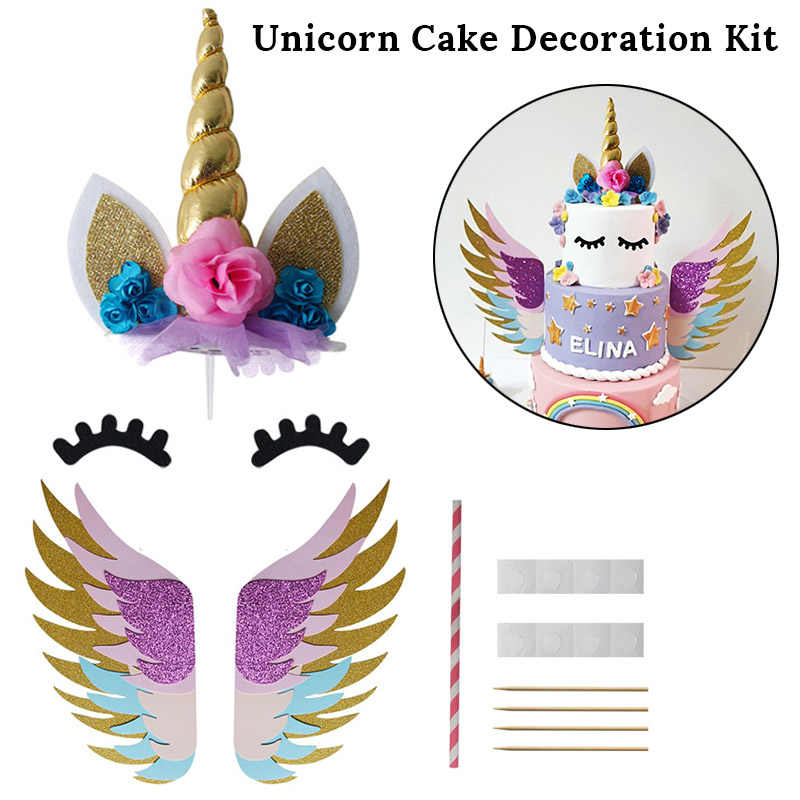 Gold Unicorn Cake Topper Headband Unicornio Party Decorations Cupcake  Toppers Wrapper 1st 2nd 3st Birthday Party Supplies
