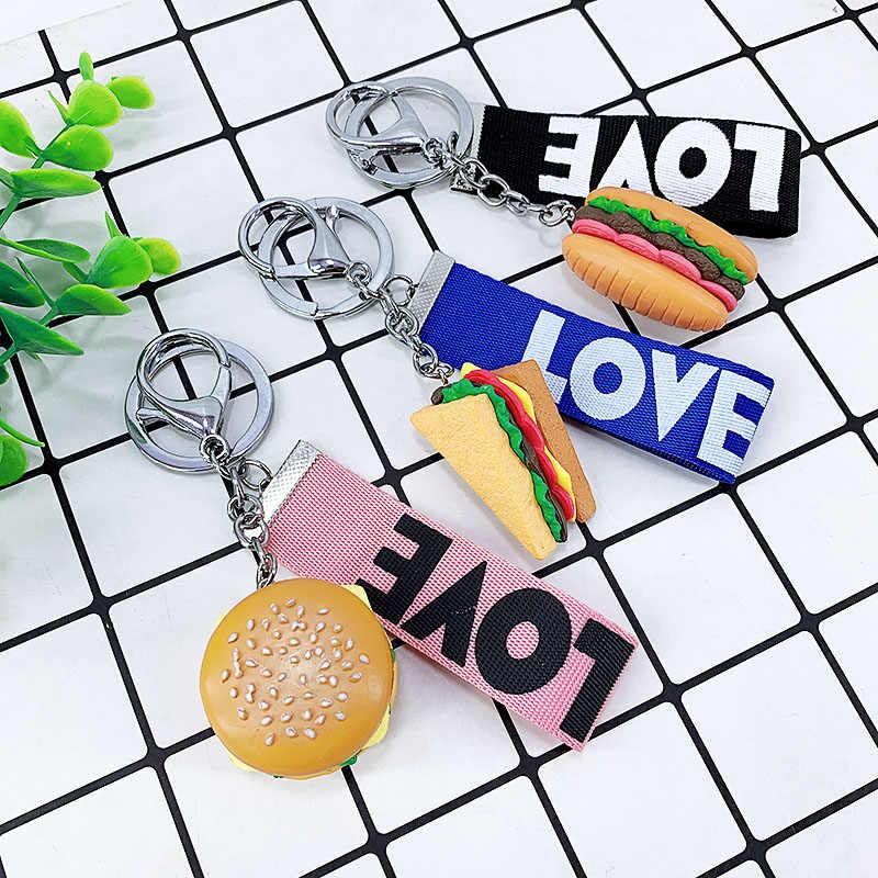 Nowy kreatywny materiał żywiczny symulacja żywności brelok do kluczy wisiorek, hamburger, frytki, popcorn, ciasto prezent car key wisiorek obrączka