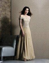Mo5 Elegant Long Lace Chiffon V-neckline Formal Mother Of The Bridal Dress fashion luxury v neckline lace jacquard dress