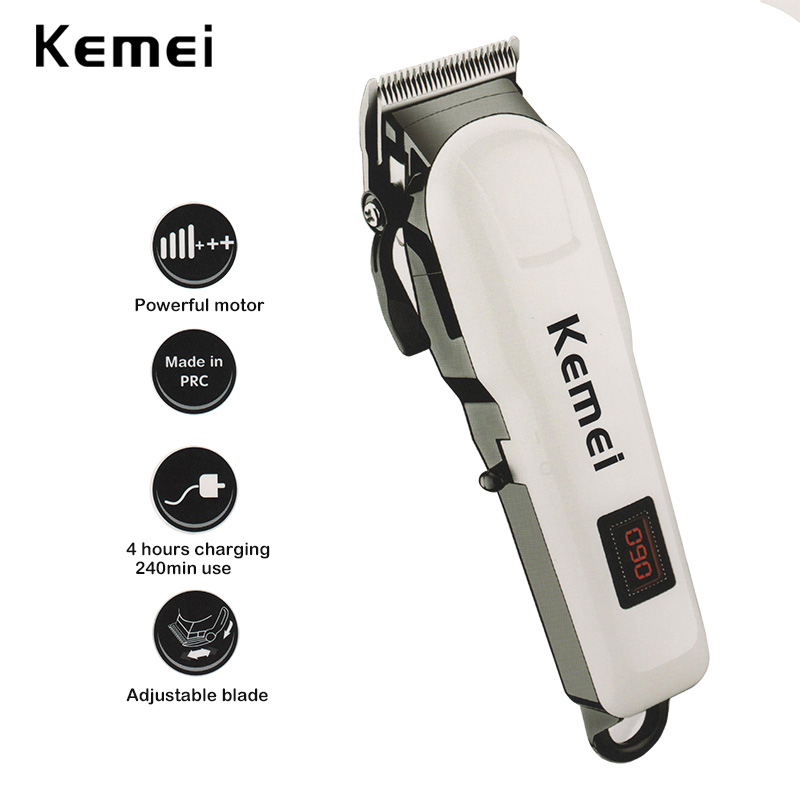 Kemei KM-809A Professional Hair Clipper LCD Display Household Rechargeable Trimmer Haircut Clipper Cutter Styling Tool kemei km 809a waterproof hair trimmer machine professional hair grooming lcd display haircut clipper cutter for barber