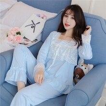 Пижамы для женщин, пижамный комплект высокого качества, Милая Кружевная пижама с длинным рукавом для принцессы, домашняя пижама