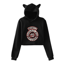 LUCKYFRIDAYF Kpop Mongrel Mob Nice Hoodies Cool Soft Women Crop Top Cat Warm Sweatshirt Hoodie Size Plus 2XL
