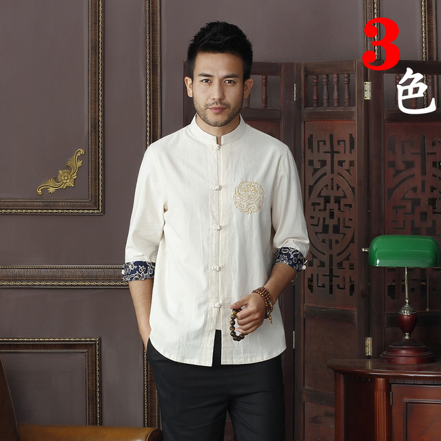 Summer New Beige Men's Cotton Linen Shirt tops Vintage Chinese Kung Fu Short Sleeve Shirt Tang Suit  Size S M L XXL XXXL D11