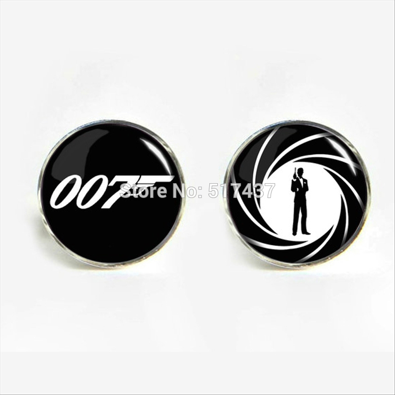 J-849 wholesale Mens Cuff links 007 Movies Cufflinks For Mens Glass Dome Cuff Button Glass Cufflinks Gifts image