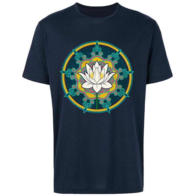 OM Madala Lotus Chakras Pure Cotton Tops T Shirts Personalized Fashion T Shirt Causal Brand Good Quality Sweatshirt Hipster in T Shirts from Men 39 s Clothing