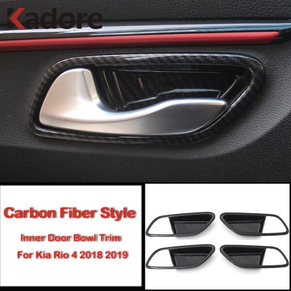 4x Carbon Fiber Style Interior Door Handle Bowl Cover Trim fit Toyota Camry 2018