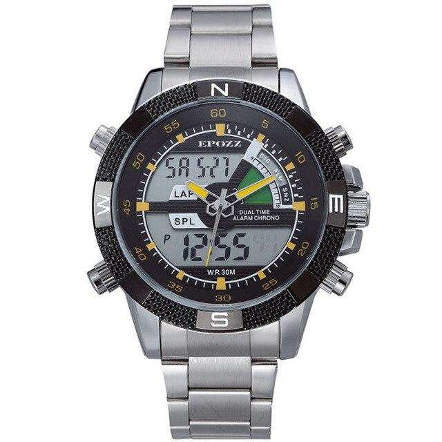 14300599db5 EPOZZ Militar dos homens Do Esporte Relógios Eletrônico Digital LED Relógio  Masculino Prata Aço Inoxidável Homens