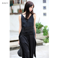AMII REDEFINE Crop Tank Women Summer 2018 Sexy V neck Patchwork Striped Solid Linen Tank Top