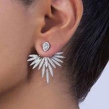 GODKI Luxury Trendy Lotus Flower Full Mirco Paved Crystal Zircon Naija Wedding Drop Earring Fashion Jewelry