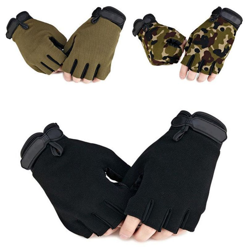 Tactical Anti-Slip Half Finger Gloves Outdoor Cycling Hiking Mount Climbing Gloves Hand Protector High Quality qepae 043a outdoor cycling half finger gloves black red l pair