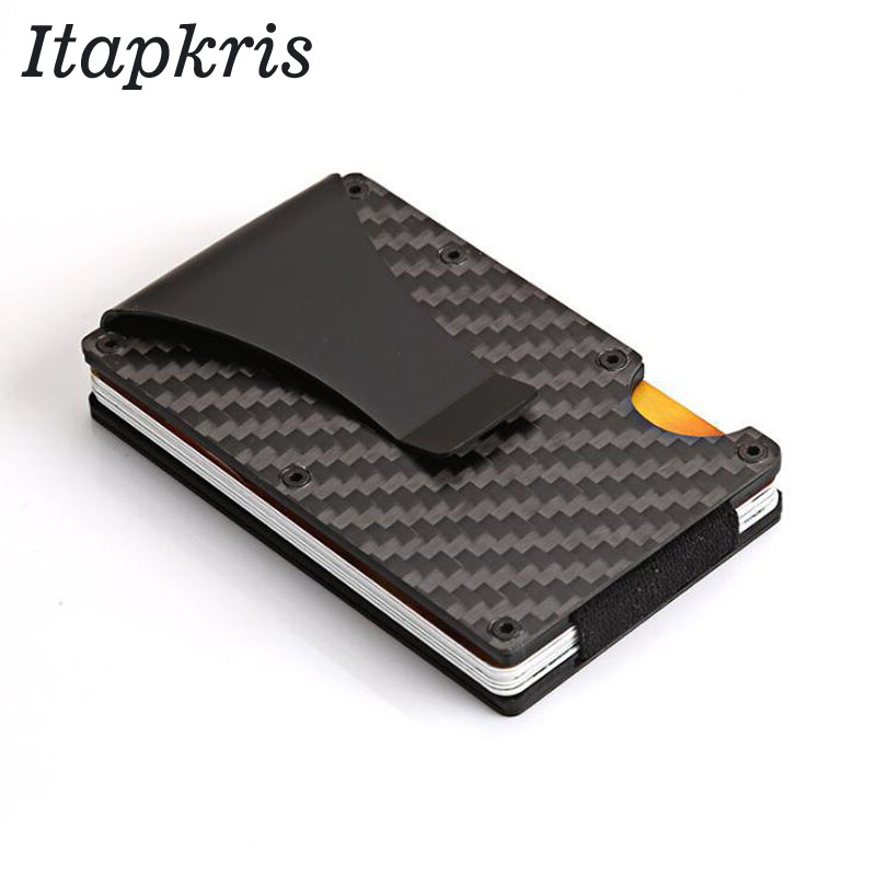 Carbon Fiber Metal Credit Card Holder Rfid Wallet Blocking Portable ID Card Case Men Aluminum Clip Cardholder Porte Carte