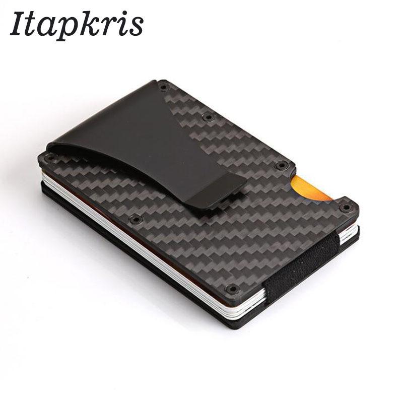 Карбоновый металлический держатель для банковских карт, Rfid кошелек, блокирующий портативный чехол для ID карт, мужской алюминиевый держатель для карт