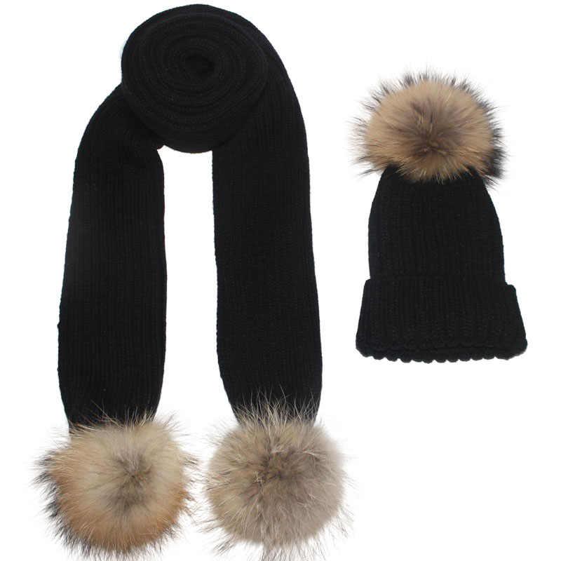 DIY 13cm 15cm Echt Fox Pelz Pompom Für Gestrickte schal Herbst Winter Schals Echte Waschbären Pelz Pom Pom für Hüte Schals & Tücher