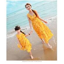 Аутентичные летний стиль матери-дочери платья девушки одеваются Vestidos длиной макси платье для девочек и женщин цветок семья одежда летние платья для девочек мама и дочка платья длинные платья пляжные платья