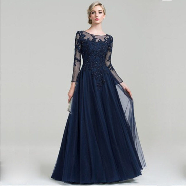Scoop Neck A Line Floor Length Tulle Mother of the Bride Dress with Beading Sequins for Wedding Party Custom Made