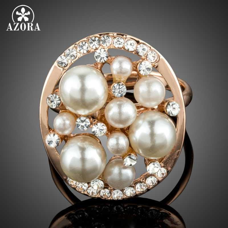 AZORA New Luxury Fascinating Rose Gold Color Simulated Pearl Finger Rings Jewelry With Clear Crystals Brilliant Cut Stone TR0216