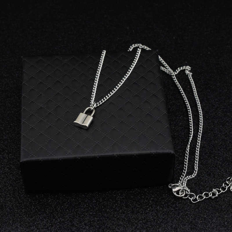 Chain Stainless Steel Silver PadLock Pendant Necklace Brand Rolo Cable Chain Lock Necklace Collar Ras Du Cou Collier Femme Women