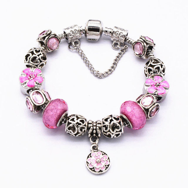 Voq Fashion European Style Pink Murano Gl Bead Bracelets For Women Friendship Charm Bracelet Vintage