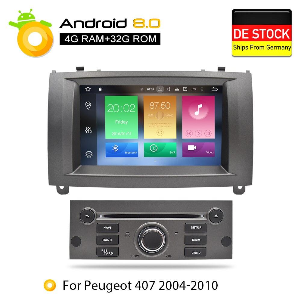 Nouveau Lien Core Android 8Car lecteur dvd gps Glonass Navigation pour Peugeot 407 2004-2010 4 GB RAM 32 GB ROM radio multimédia Stéréos