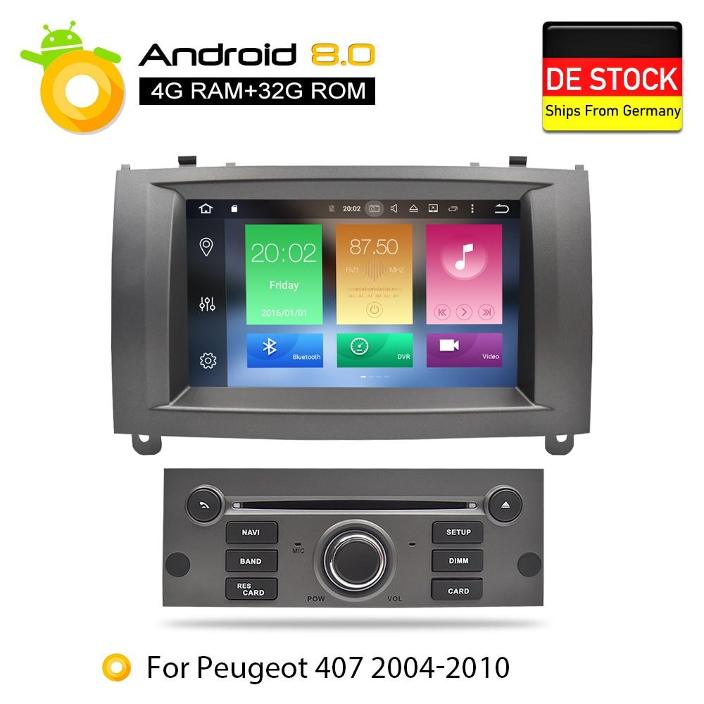 Nuevo enlace Core Android 8Car reproductor de DVD GPS Glonass de navegación para Peugeot 407 Peugeot 2004-2010 4 GB de RAM 32 GB ROM Multimedia Radio estéreo