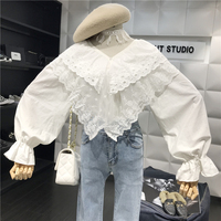 New Spring 2019 Thin Loose Stitching Silk V neck Long Flare Sleeve Blouse Women White Shirts Tops D798
