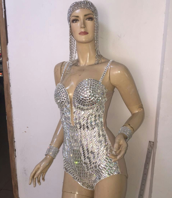 Sequins Rhinestone One-Piece Bodysuit Women Sexy Silver Female Singer DJ DS  Dance Stage Costume Outfit Show Clothing Dress Wear e1ddc17d2b04