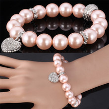 Girls' Luxury Heart Bracelet Synthetic Pink Pearl Beads Bracelet Bangle Austrian Rhinestone Fashion Jewelry For Women  MGC H388