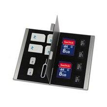 Двойной нержавеющей стали Box Sd Карты Держатель Дело Емкость CF NANO sim-карт TF B202 Серебро