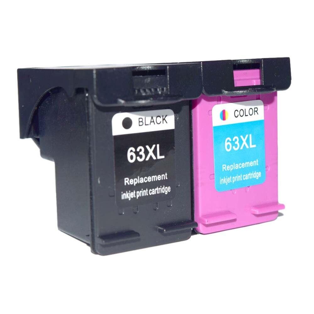 2 Pcs Remanufactured Ink Cartridge 63XL HP 63xl BK & Tricolor Compatible for HP DESKJET 3630 3632 Officejet 4652 4655 ENVY 4522 2pk for hp 61xl remanufactured ink cartridge bk
