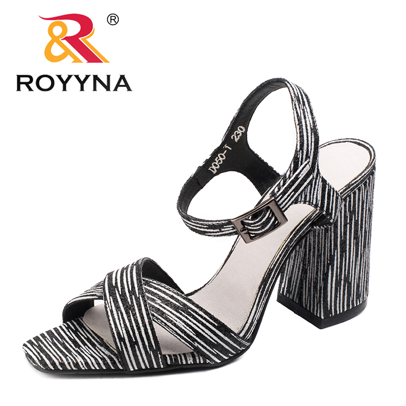 ROYYNA New Fashion Style Women Sandals Outdoor Walking Summer Shoes High Square Heels Slippers Comfortable Fast Free Shipping royyna new sweet style women sandals cover heel summer gingham women shoes casual gladiator ladies shoes soft fast free shipping
