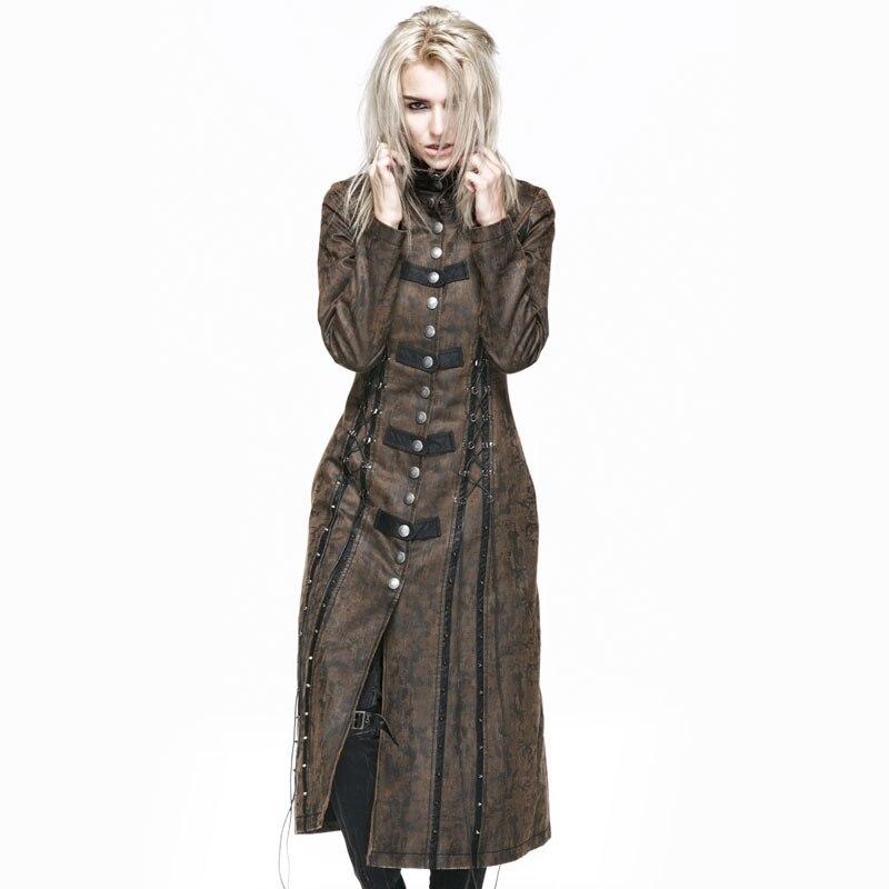 Панк готический великолепные куртки стимпанк кофе Сезон: Весна Лето нагрудные Длинные пальто Верхняя одежда