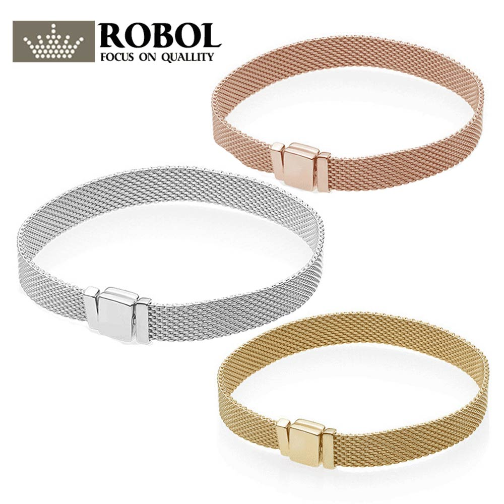 ROBOL 925 Sterling Silver Original PAN Bracelets Reflexions 597712 Bracelet Jewelry Female Mesh Chain High Quality 1:1 Template
