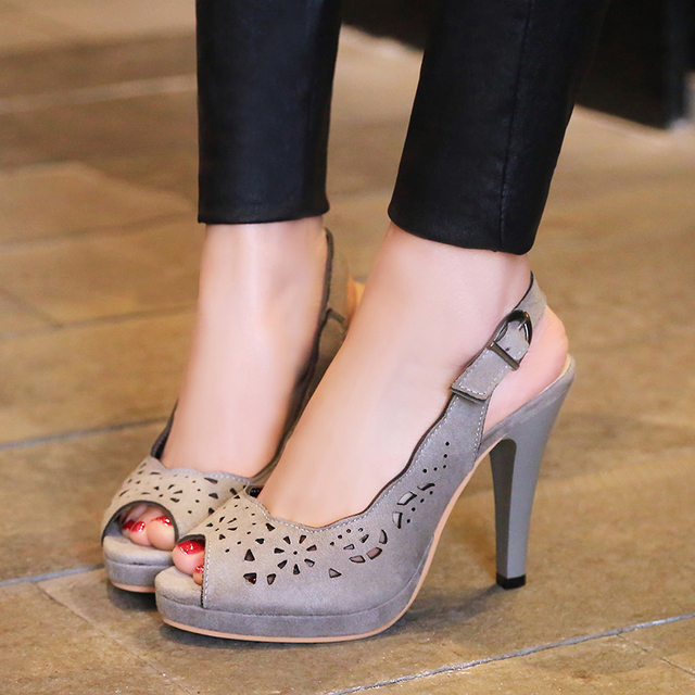 Novo 2017 sexy de salto alto mulheres sapatos slingbacks peep toe salto stiletto bombas da plataforma das senhoras das mulheres do escritório preto roxo sapatos