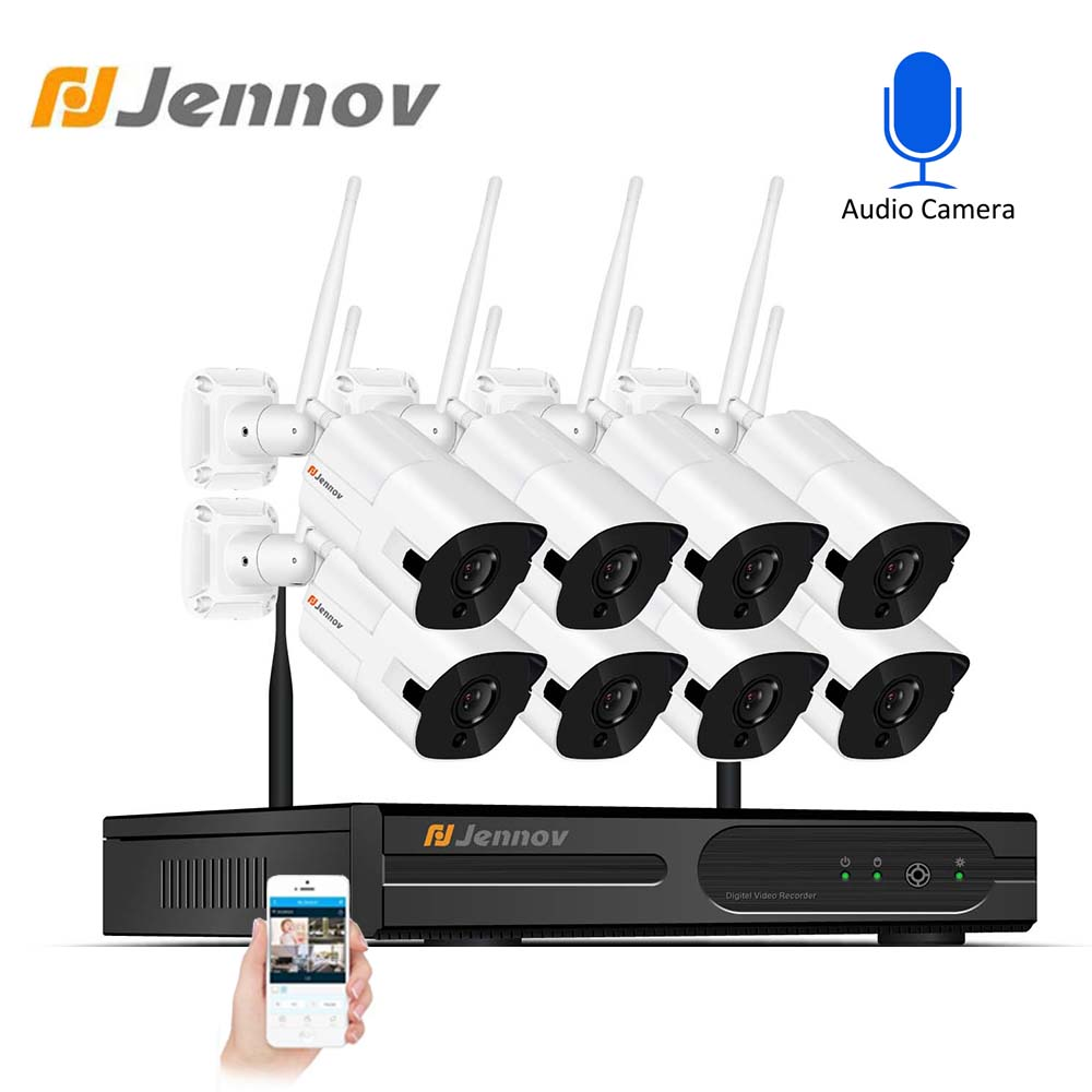 Jennov HD 8CH Wireless NVR CCTV System 2MP 1080P Outdoor Wasserdicht WiFi IP Kamera Audio Record Sicherheit Video Überwachung kit